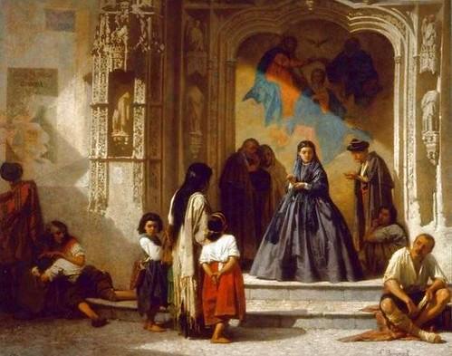 L. Bonnat. Jeune femme faisant la charité à lentrée de la chapelle de lhôpital San Sebastian à Cordoue. Musée Bonnat, Burdeos.
