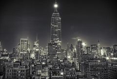 New York is Black (beyondthosetrees) Tags: nyc newyorkcity chris roof blackandwhite bw white ny newyork black rooftop beautiful night skyscraper nikon cityscape empirestatebuilding d200 ward hdr
