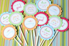 Bright Baby Shower Cupcake Toppers (Kim - The TomKat Studio) Tags: party bright flag cupcake pick custom babyshower topper