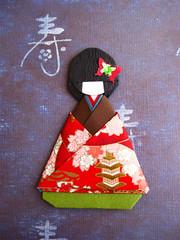 origami paper doll Kaede (umeorigami) Tags: japan japanese origami geisha yukata kimono paperdoll washi chiyogami origamidoll chiyogamidoll
