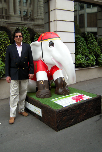Ashwan Khanna, Elephant Family Chairman, standing proudly with his elephant on St James's street