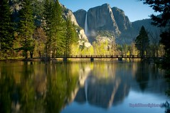 Yosemite Falls & Swinging Bridge - Yosemite National Park California (Darvin Atkeson) Tags: california park morning usa mist yosemitefalls america forest sunrise reflections river us merced national valley yosemite swingingbridge darvin   atkeson  darv   liquidmoonlightcom