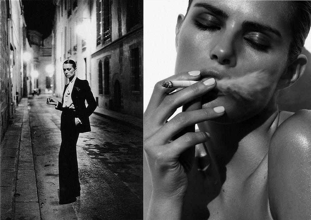 Le Smoking (1966). Foto por Helmut Newton em 1975, Morning Beauty | Isabeli Fontana by Sølve Sundsbø