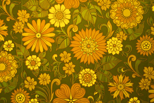 Sixties / Seventies Era Floral Print Wallpaper - Brian Eno Speaker Flowers Sound Installation at Marlborough House