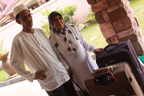 with their luggage
