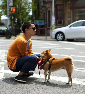 streetstyle - boy with a dog