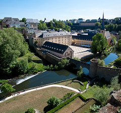 Abbaye de Neumnster (pinbeu) Tags: bridge panorama abbey river rivire pont luxembourg panoramique alzette abbaye grund neumnster neumunster