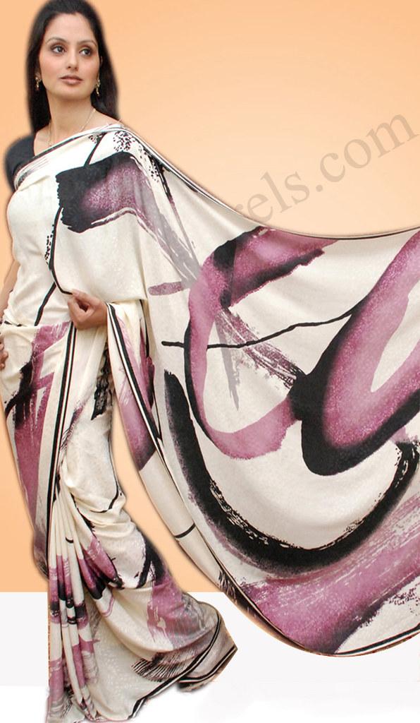 Serene WhiteCrepeJacquard Printed Sari
