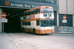 Manchester Arndale: Canon Street  Bus Station (georgeupstairs) Tags: bus manchester 1981 1979 busstation doubledecker leyland arndale gmpte atlantean canonstreet northerncounties greatermanchesterpte an68a1r