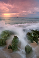 Water to Smoke (allanbarredo) Tags: sea beach sunrise rocks waves smoke philippines cpl glan sarangani gumasa