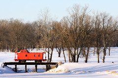 Caboose (thisisbrianfisher) Tags: winter red sky snow cold color tree train frozen track brian caboose fisher bfish brianfisher thisisbrianfisher