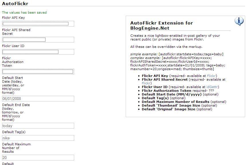 AutoFlickr (BlogEngine's Lightbox/Flickr Extension