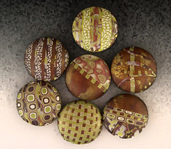 Fresco (metalartiste) Tags: brown white green pendant reversible naftali polymerclaybeads focalbead artbead