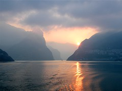 Sad Yangtze (Stanley Zimny) Tags: china sunset reflection water misty fog architecture river town smog village condo yangtze stunningskies 100commentgroup