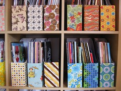 Vintage Paper In Use (moxie-girl) Tags: ikea vintage project wrapping paper office 60s 50s recycle moxie reuse reimagine repurpose expedit ikeahack