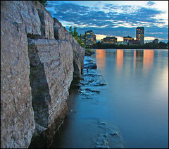 ~ On The Rocks ~ (ViaMoi) Tags: longexposure blue orange canada reflection water rock wall canon photography lights ottawa smooth silk satin 2008 ottawariver mywinners abigfave platinumphoto anawesomeshot citrit viamoi goldstaraward worldwidelandscapes 100commentgroup