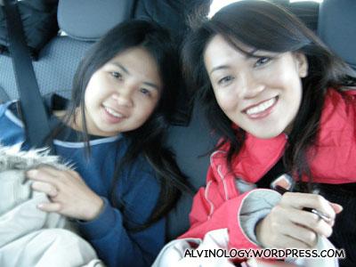 Rachel and Meiyen in the back seat
