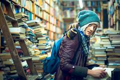 Voltaire and Rousseau (TGKW) Tags: portrait people man hat shop scarf reading book glasgow books step ladder bookshop shelves rik voltaire rousseau voltaireandrousseau