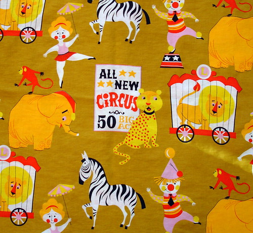 vintage circus fabric in mustard