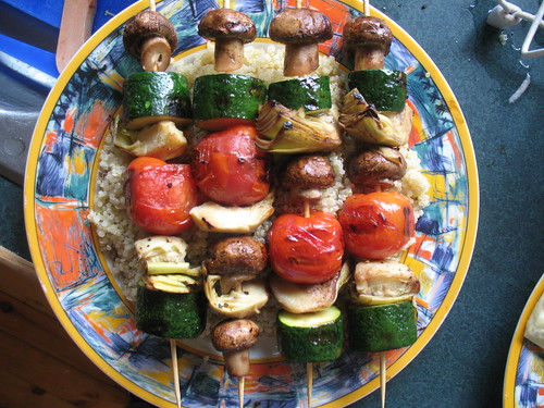 veggie skewers on quinoa