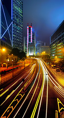 Traffic (Tom Stoncel) Tags: china longexposure nightphotography nikon asia bankofchinatower hongkongisland queensway tiltshift hsbcbuilding gardenroad perspectivecontrol cheungkongcenter d700 tomstoncel 24mm35pce