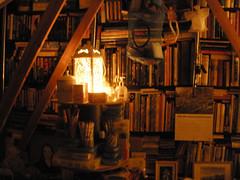 Attic light and books
