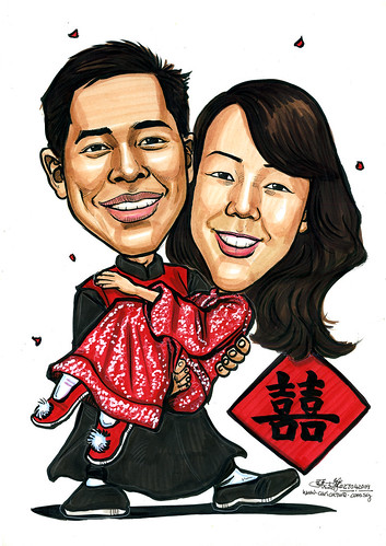 Couple caricatures traditional Chinese wedding A4
