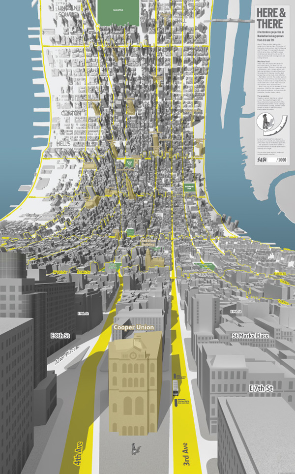 uptown: Here & There; a horizonless projection in Manhattan
