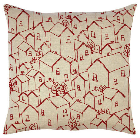 houses print cushion mockup
