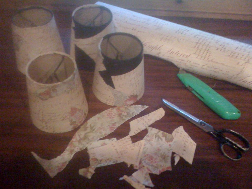 Progress....Cavallini & Co paper, lampshades, glue & scissors!