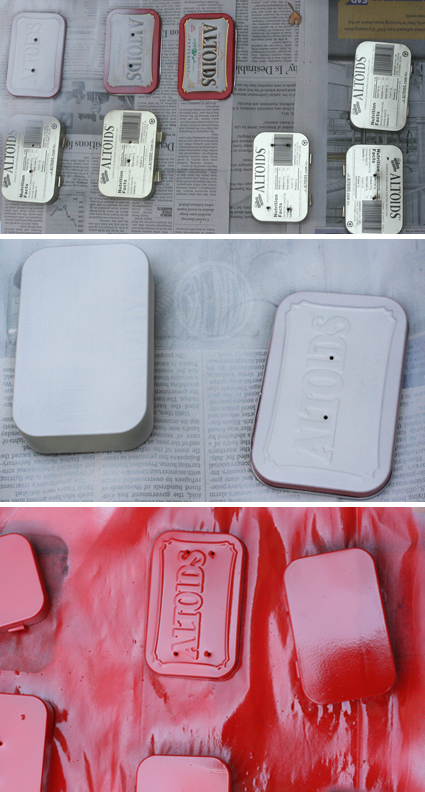 spray painting Altoid tins