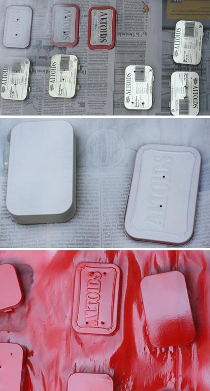 spray painting Altoid tins