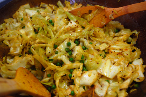 Shredded Cabbage Stir-Fry with Green Peas
