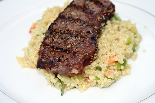 Grilled Elk with Quinoa Salad and Fiddleheads 3