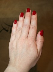 Farewell to nails (Joanne (Hay Llamas!)) Tags: uk red hands hand large nails gloss british brunette brit larger rimmel britgirl