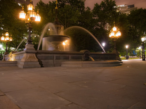 City Halls Fountain At Night