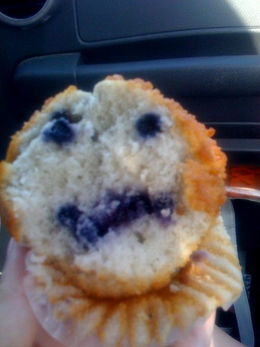 Face in blueberry muffin