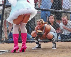 The Boys of Summer...? (sea turtle) Tags: seattle park pink dykes drag view boots feathers skirt heels softball catcher dragqueen dyke fundraiser capitolhill dragqueens batter shortskirt calandersonpark batnrouge alanoclub capitolhillalanoclub dragqueensvsdykes dykesvsdragqueens