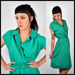 70's Kelley Green Dress (Prance & Swagger) Tags: girls green fashion vintage portland belt clothing mod 60s dress modeling coat models style 80s 70s hippie shorts 50s etsy boho swimsuit 30s leotard jumpsuit doublebreasted maidenrapturevintage brittanystrong
