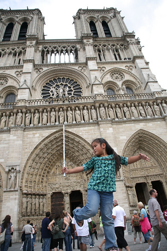 Gwen strikes a pose at the Notre Dame Cathedral