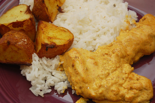 tandoori chicken and potatoes
