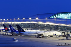 airport... (Teruhide Tomori) Tags: voyage travel blue light sky japan night airplane ana airport aircraft terminal  nippon osaka nightview boeing kansai japon jetplane  jepang boeing777