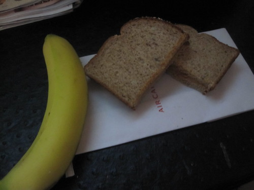 PB sandwich, banana in my hotel room