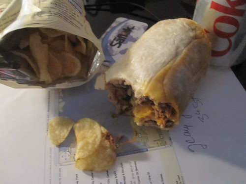 Burrito leftovers, chips, Diet Coke