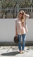 prada chandelier+peach blouse+beige blazer+j brand jeans+vuitton speedy -6