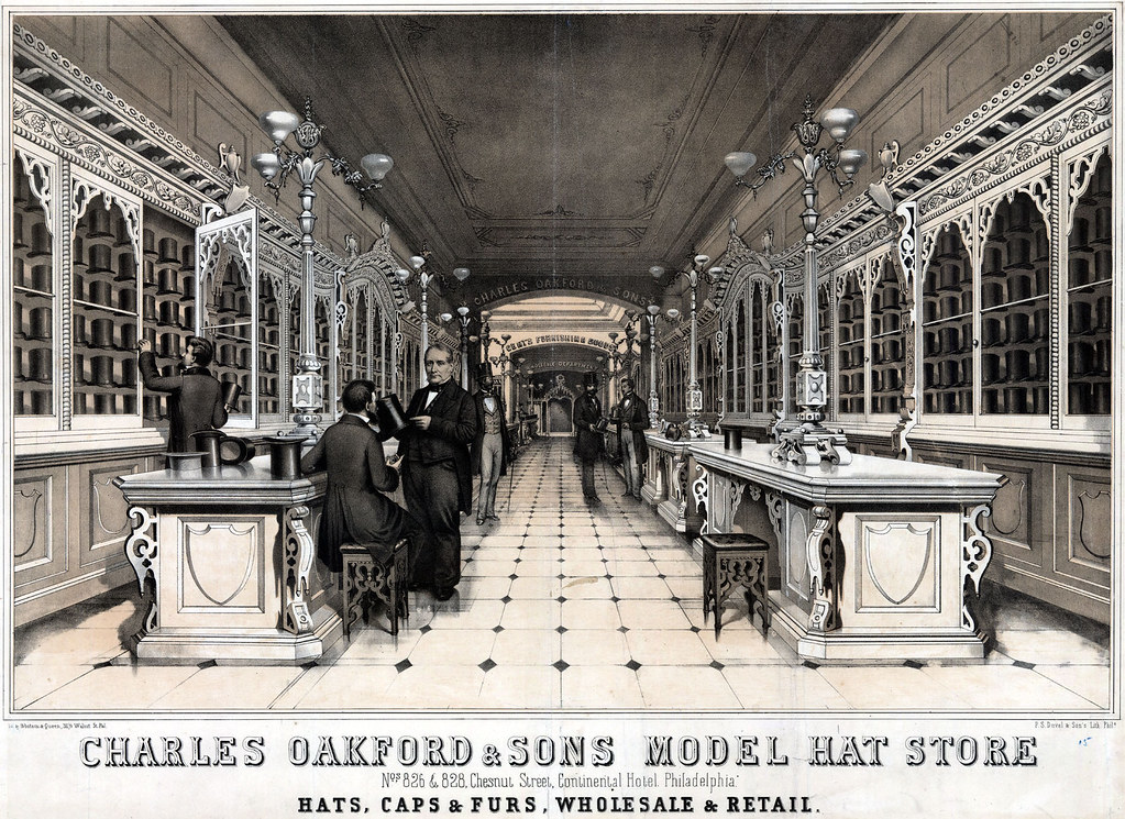 Charles Oakford & Sons model hat store nos 826 & 828, Chestnut Street, Continental Hotel. Philadelphia. Hats, caps & furs, wholesale & retail, [ca. 1860]