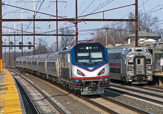 Amtrak ACS-64 600 on train 129 at Edison, NJ