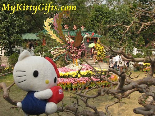 Hello Kitty's View of Phoenix Flower Sculpture in Hong Kong Orchid Trip