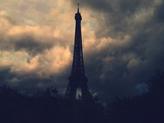Dark Times Are Part Of Us Too (La Vida Segun Seba) Tags: paris france tower clouds dark atardecer torre tour darkness dusk eiffel explore toureiffel nubes nuages soir processed picnik anochecer oraclex