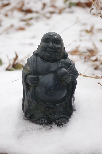 Happy Buddha...it's snowing!
